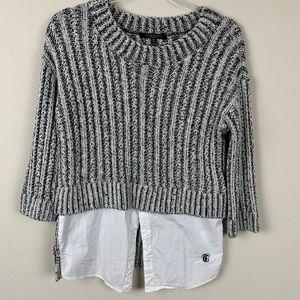 Thakoon Ribbed Marled Layer Shirt Sweater